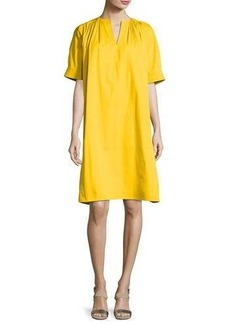 Derek Lam Cotton Faille Split-Neck Tent Dress