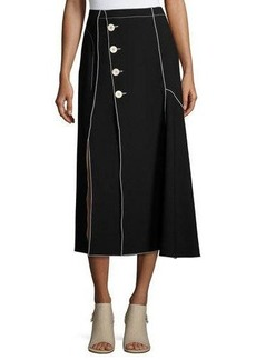 Derek Lam Crepe Side-Button Midi Skirt with Contrast Piping