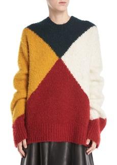 Derek Lam Crewneck Long-Sleeve Colorblock Brushed Alpaca Sweater
