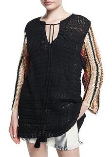 Derek Lam Cropped-Sleeve Crochet Top