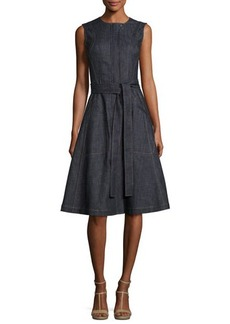Derek Lam Denim Front-Zip Sleeveless Trench Dress