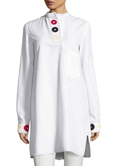 Derek Lam Embroidered Band-Collar Shirtdress