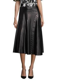 Derek Lam Flared Leather Skirt