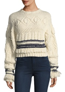 Derek Lam Fringed Cable-Knit Crewneck Sweater