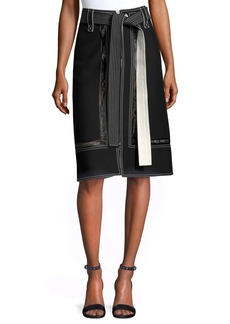 Derek Lam Lace-Inset Belted Zip-Front Skirt
