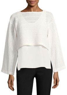 Derek Lam Layered Crochet and Poplin Top