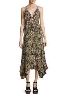 Derek Lam Leopard-Print Lace-Inset Sleeveless Silk Midi Dress