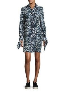 Derek Lam Leopard-Print Pleated Shirtdress