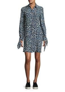 Derek Lam Leopard-Print Pleated Shirtdress
