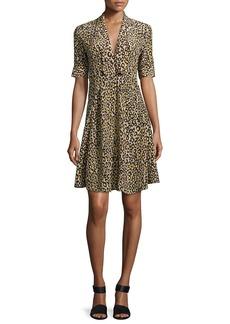 Derek Lam Leopard-Print Short-Sleeve Dress