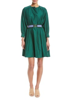 Derek Lam Long-Sleeve Belted Oversized Cotton Dress