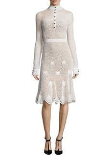 Derek Lam Long-Sleeve Button-Front Crochet Dress