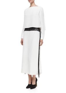 Derek Lam Long-Sleeve Column Gown w/Fringe Trim