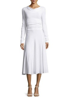 Derek Lam Long-Sleeve Cowl-Neck Cummerbund-Waist Dress