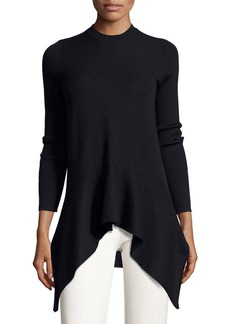 Derek Lam Long-Sleeve Crewneck Asymmetric Sweater