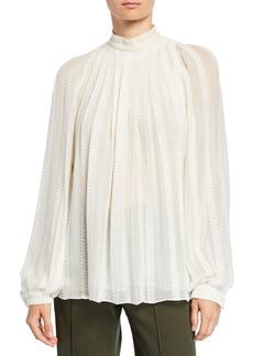 Derek Lam Long-Sleeve Embroidered Gauze Trapeze Blouse