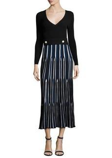 Derek Lam Long-Sleeve V-Neck Pleated Dress