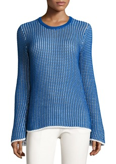 Derek Lam Mesh Long-Sleeve Crewneck Sweater