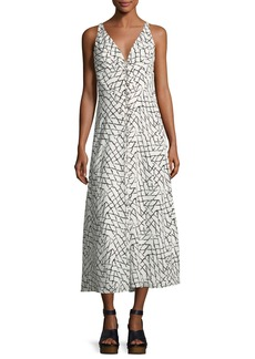 Derek Lam Net-Print Silk Georgette Slip Dress with Lacing Detail