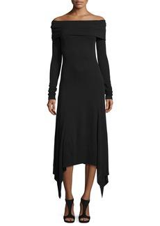 Derek Lam Off-the-Shoulder Handkerchief-Hem Dress