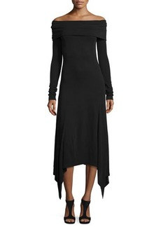 Derek Lam Off-the-Shoulder Handkerchief-Hem Dress