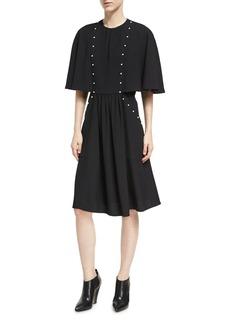 Derek Lam Pearly-Studded Capelet Dress