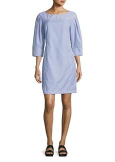 Derek Lam Pinstripe Boat-Neck Tunic Dress