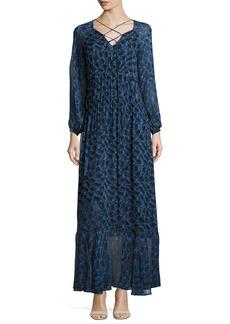 Derek Lam Python-Print Long-Sleeve Maxi Dress