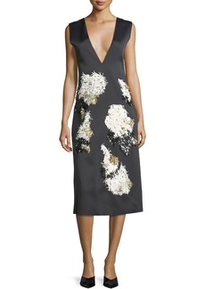 Derek Lam Sleeveless Embellished V-Neck Cocktail Dress