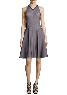 Derek Lam Sleeveless Intarsia Flare Dress