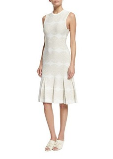 Derek Lam Sleeveless Medallion-Print Intarsia Dress
