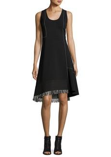 Derek Lam Sleeveless Scoop-Neck A-Line Dress with Fringe