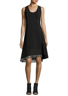 Derek Lam Sleeveless Scoop-Neck A-Line Dress with Fringe
