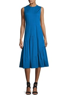 Derek Lam Sleeveless Shirred-Skirt Midi Dress