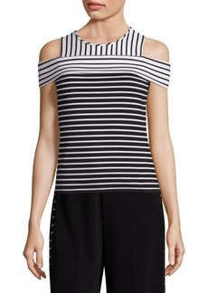 Derek Lam Striped Cold Shoulder Top
