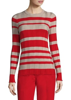 Derek Lam Striped Wide-Rib Crewneck Sweater