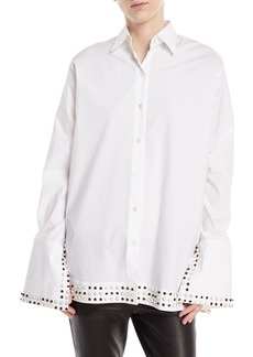 Derek Lam Studded-Collar Poplin Shirt