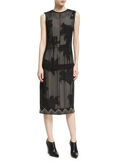 Derek Lam Studded Double-Layer Chiffon Dress