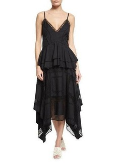 Derek Lam V-Neck Lace-Inset Peplum Dress