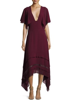 Derek Lam V-Neck Silk Georgette Midi Dress