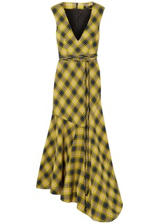 Derek Lam Woman Asymmetric Checked Cotton And Wool-blend Dress Yellow