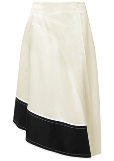 Derek Lam Woman Asymmetric Cotton Poplin-trimmed Satin-crepe Midi Skirt White