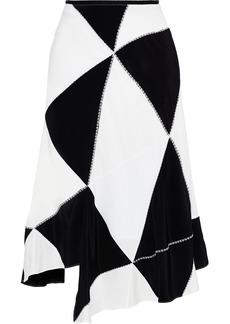 Derek Lam Woman Asymmetric Patchwork Silk-crepe Midi Skirt Black