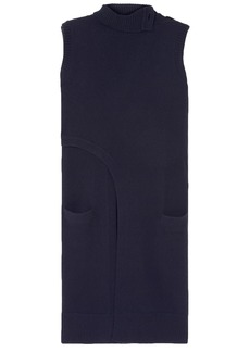 Derek Lam Woman Asymmetric Wrap-effect Cashmere Turtleneck Tunic Navy