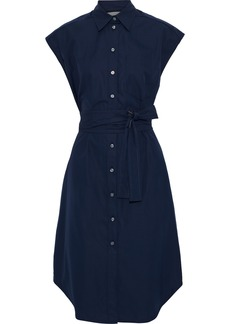 Derek Lam Woman Belted Cutout Cotton-poplin Shirt Dress Navy