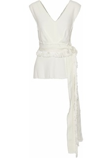 Derek Lam Woman Belted Frayed Crepe Top Ivory