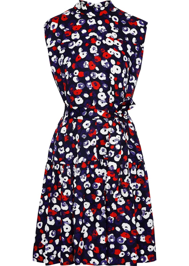 Derek Lam Woman Belted Floral-print Silk-jacquard Dress Indigo