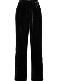 Derek Lam Woman Belted Velvet Wide-leg Pants Black