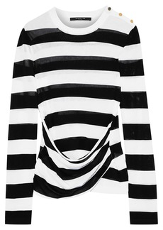 Derek Lam Woman Button-detailed Draped Striped Crochet-knit Top White