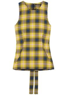 Derek Lam Woman Checked Cotton And Wool-blend Gauze Top Yellow